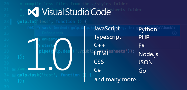 Visual Studio Code 1 0 Release