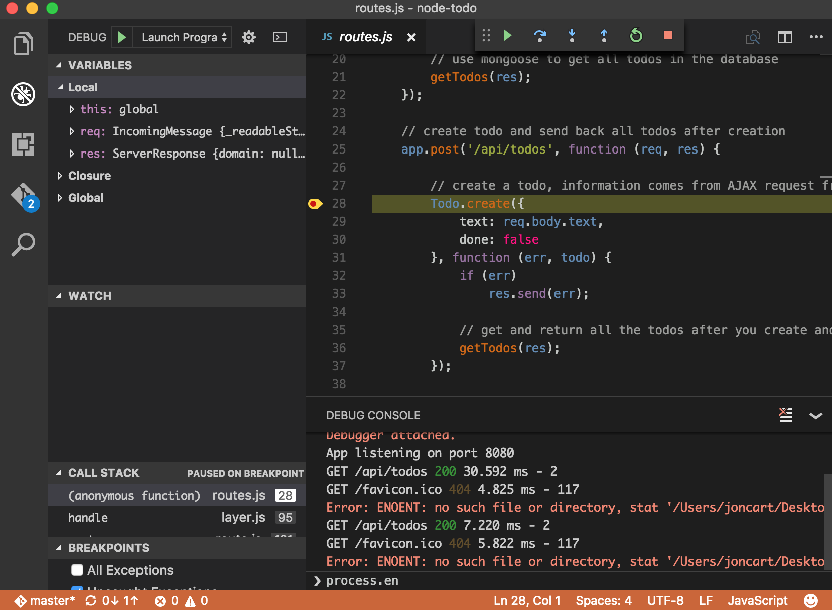 Node js Development with Visual Studio Code and Azure