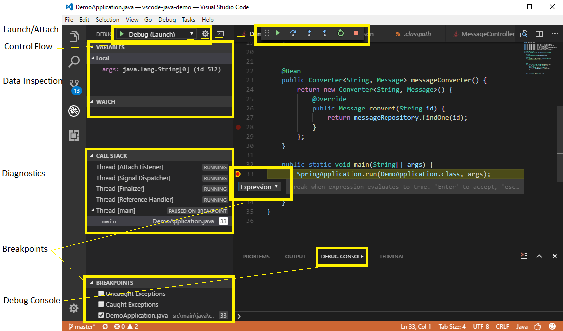 Using Visual Studio Code to Debug Java Applications