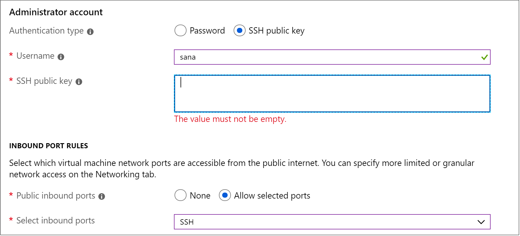 Add SSH public key to VM