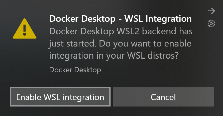 Docker Desktop WSL integration dialog