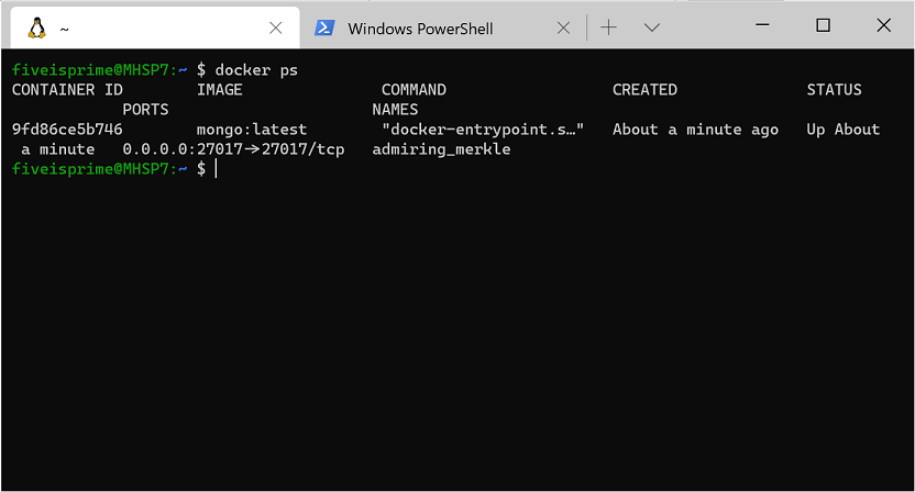 docker ps command in WSL
