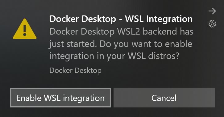 Docker Desktop WSL integration dialog