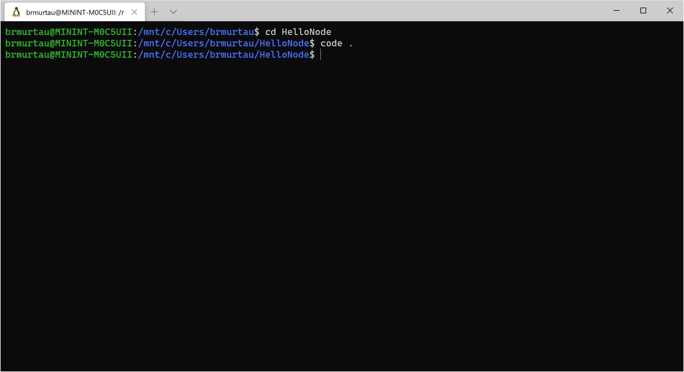 Launch code . from Ubuntu terminal