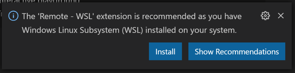 Remote - WSL extension recommended
