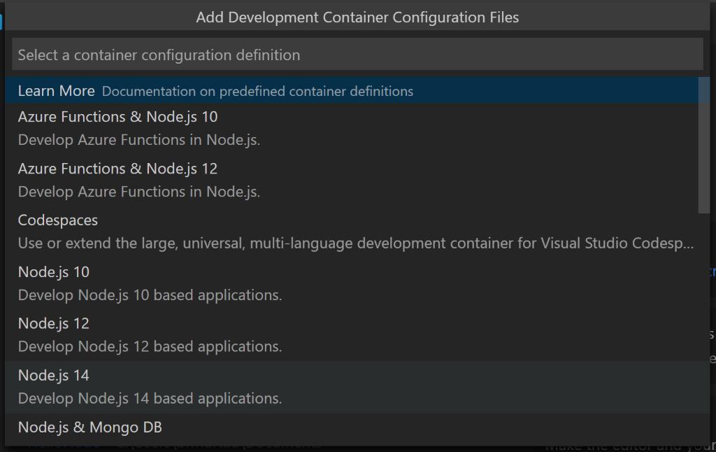 Command Palette: Node.js 14