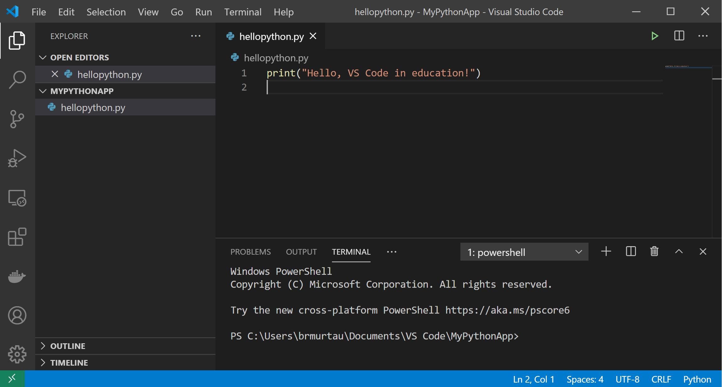 Hello world Python app