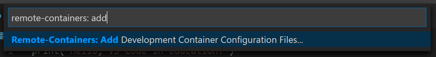 Add Development Container Configuration Files command