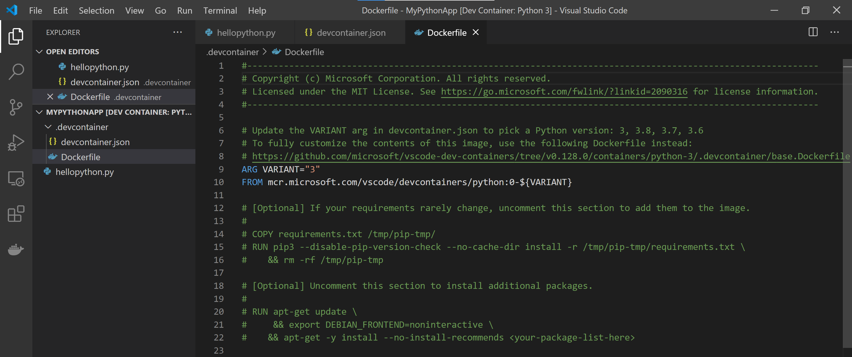 Python dockerfile in app