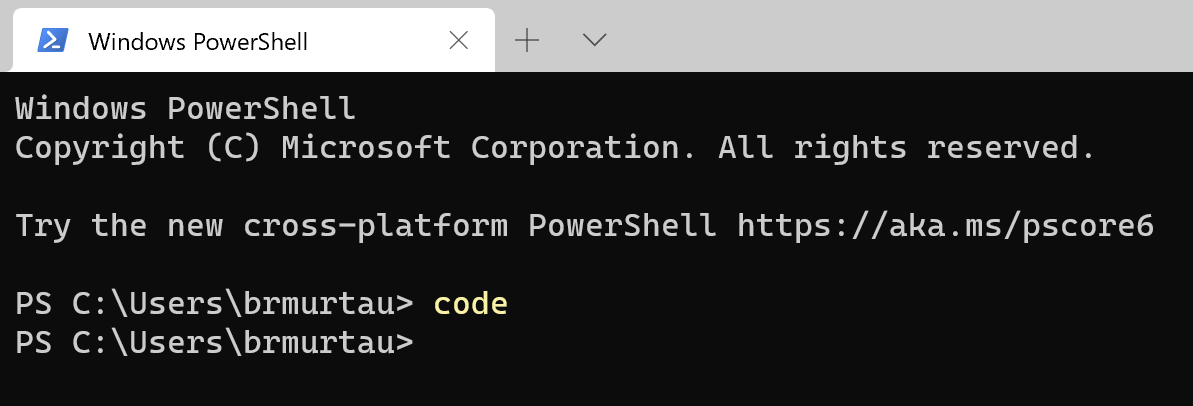 Launch VS Code from command prompt