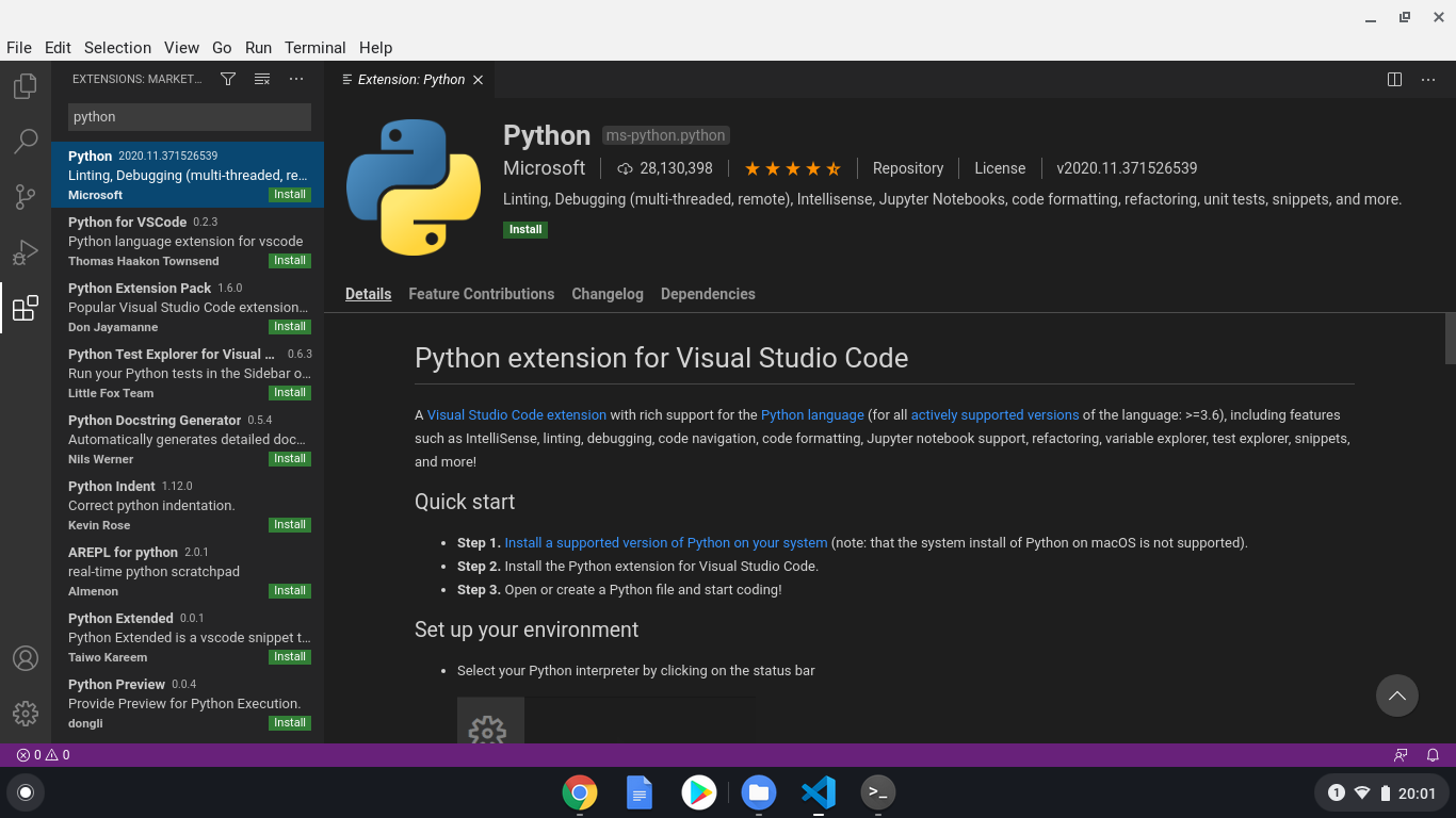 Installing the Python extension for VS Code