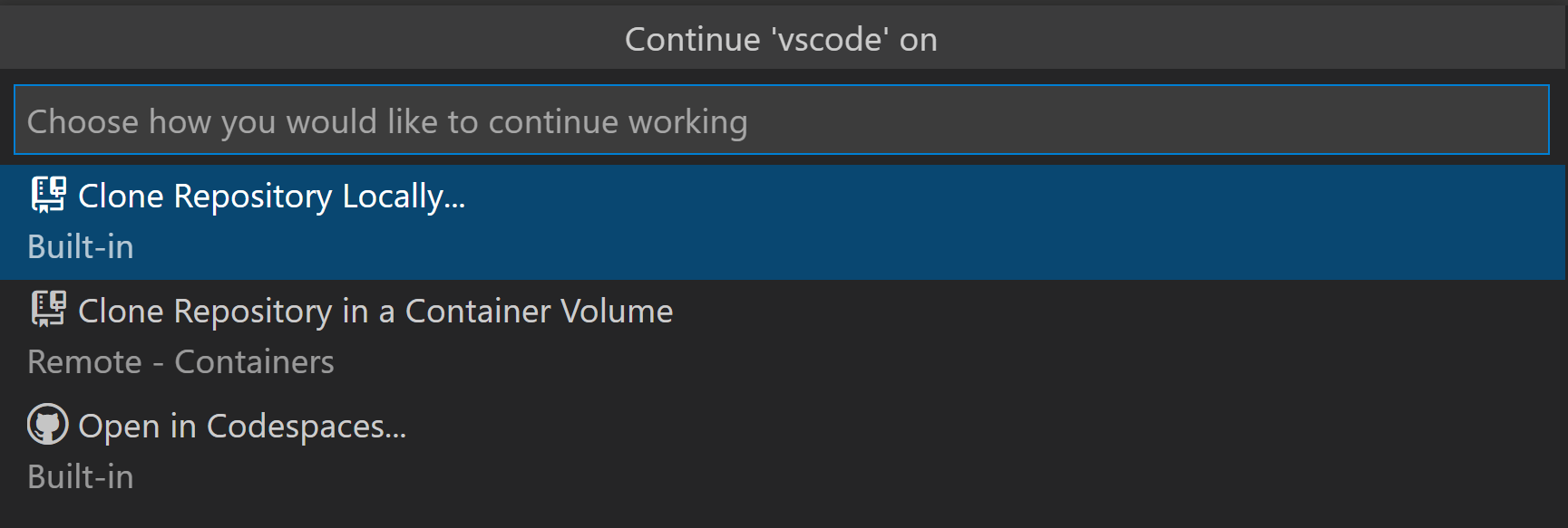 VS Code Command Palette with options to continue locally, in a volume, or in Codespaces