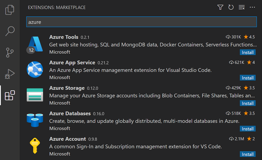 Visual Studio Code Azure Extensions