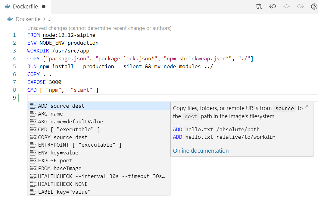 IntelliSense for Dockerfiles