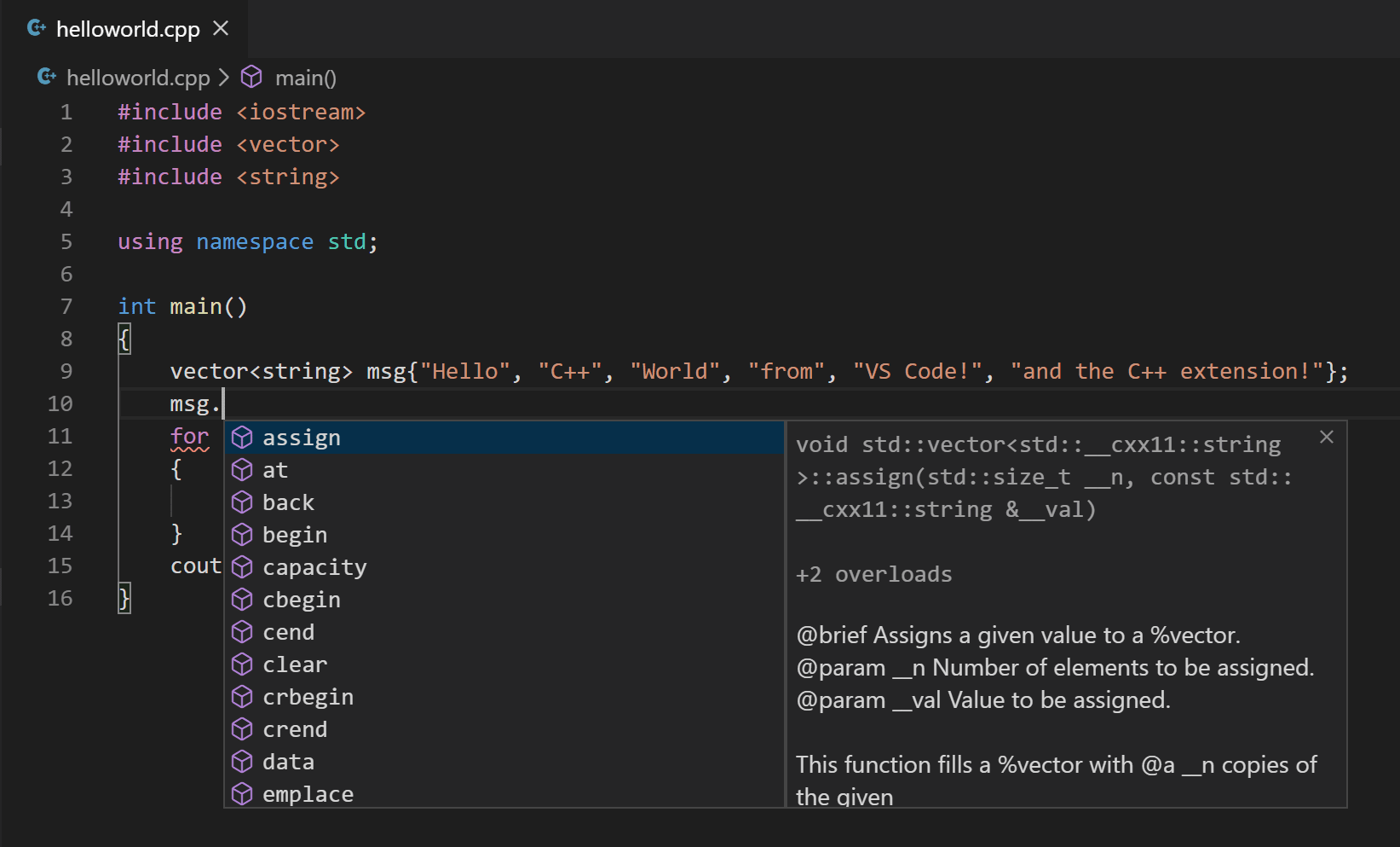 Statement completion IntelliSense