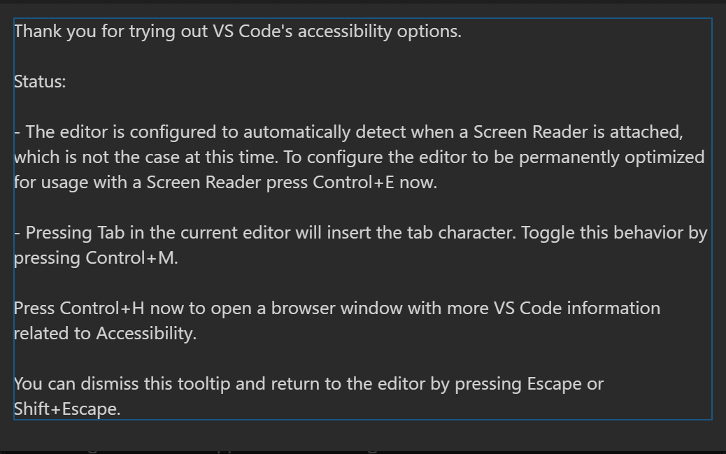 Accessibility in Visual Studio Code