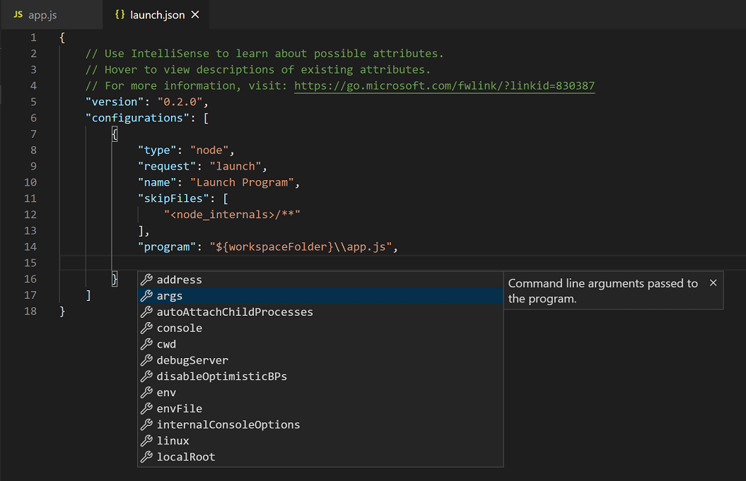 launch.json IntelliSense