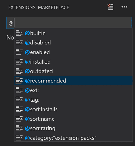 intellisense on extension search filters