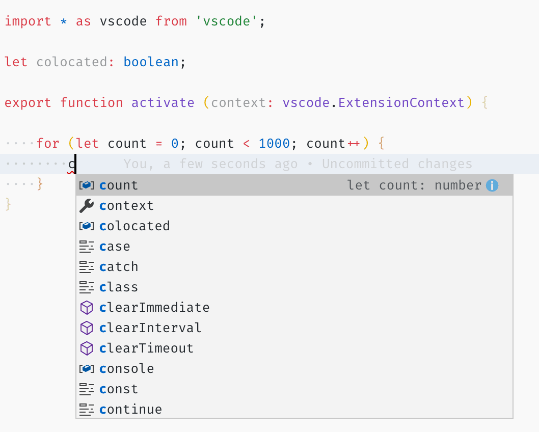IntelliSense in Visual Studio Code