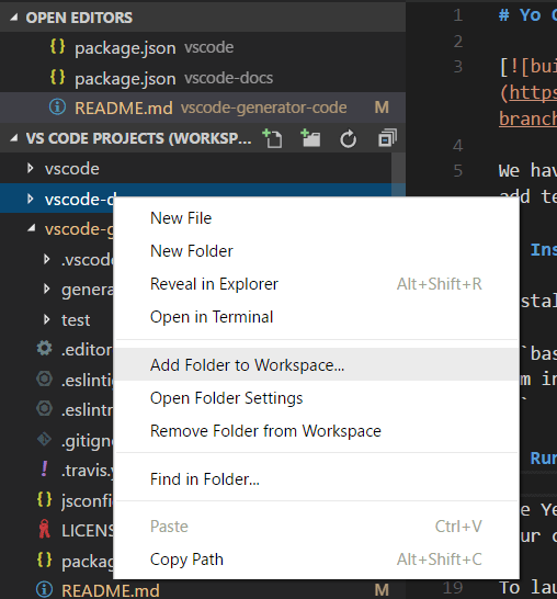 Multi-root Workspaces in Visual Studio Code