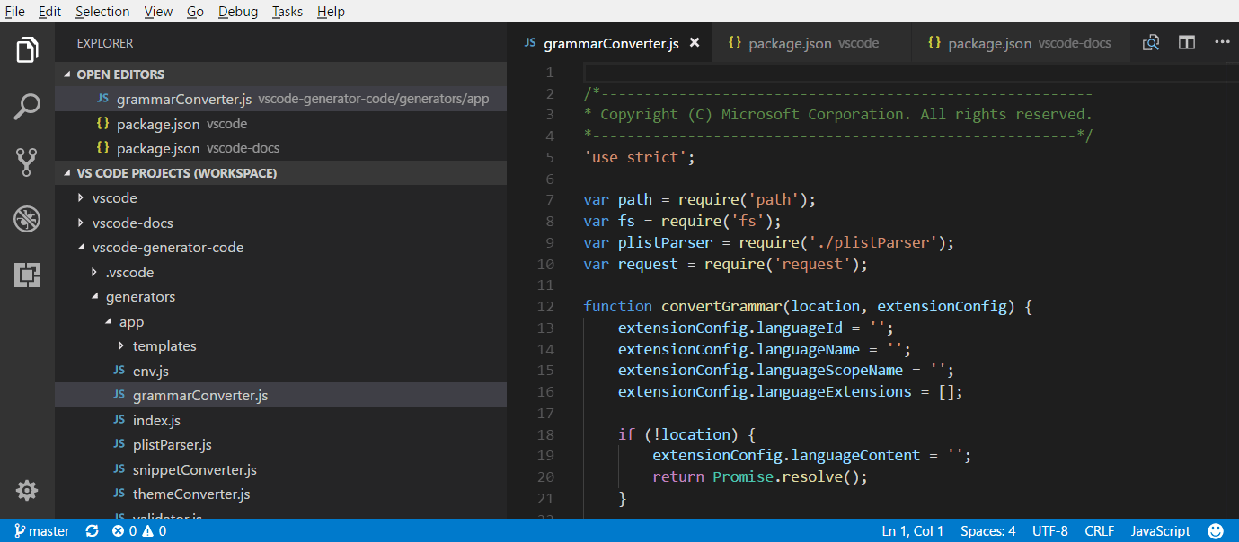 Multi-root Workspaces in Visual Studio Code