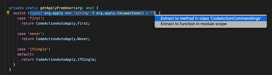 Select Code Action context menu