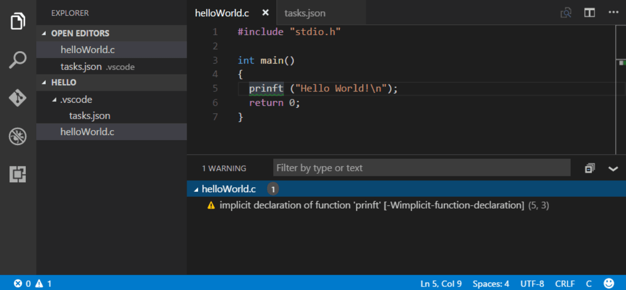 Tasks in Visual Studio Code
