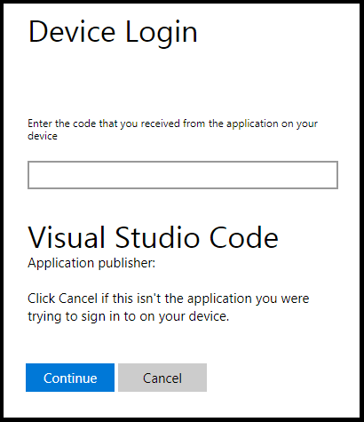 Azure Device Login