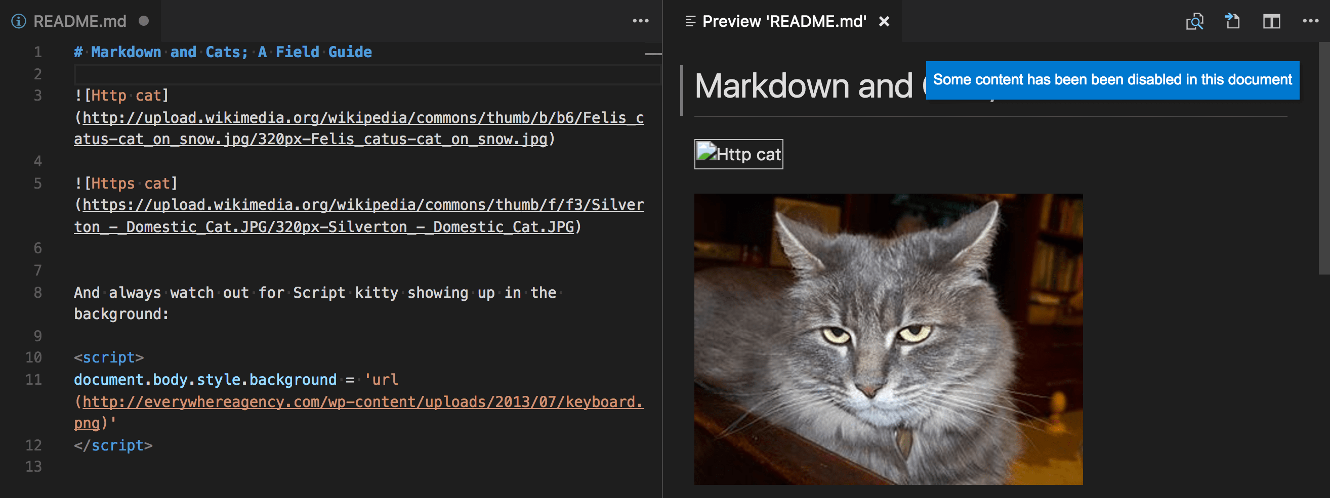 Markdown editing with Visual Studio Code