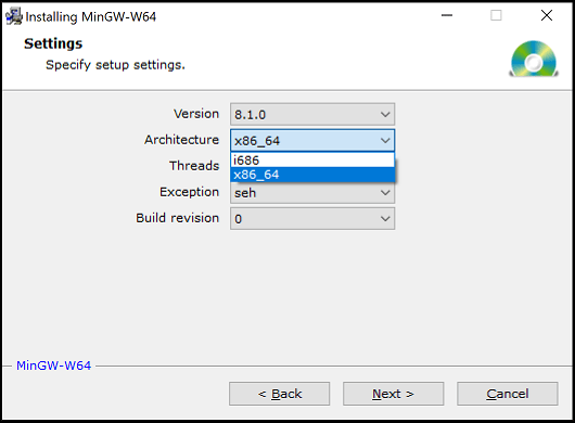 Choose x86_64 on the MinGW settings page