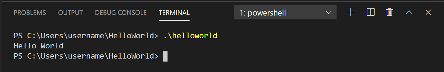Run hello world in the VS Code Integrated Terminal