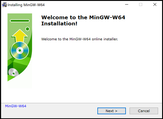 MinGW installation dialog welcome page