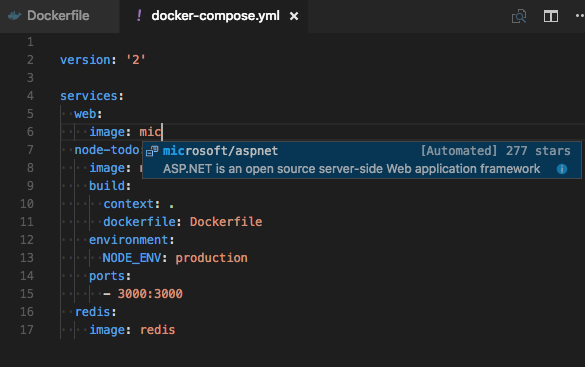 Docker Compose Microsoft image suggestions