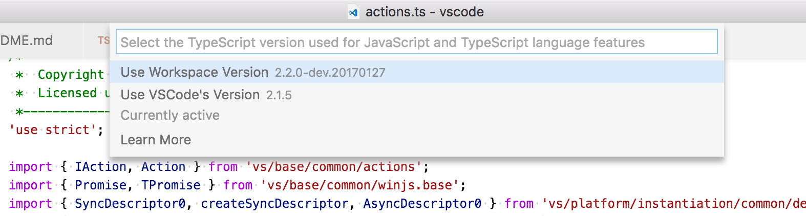 TypeScript version selector
