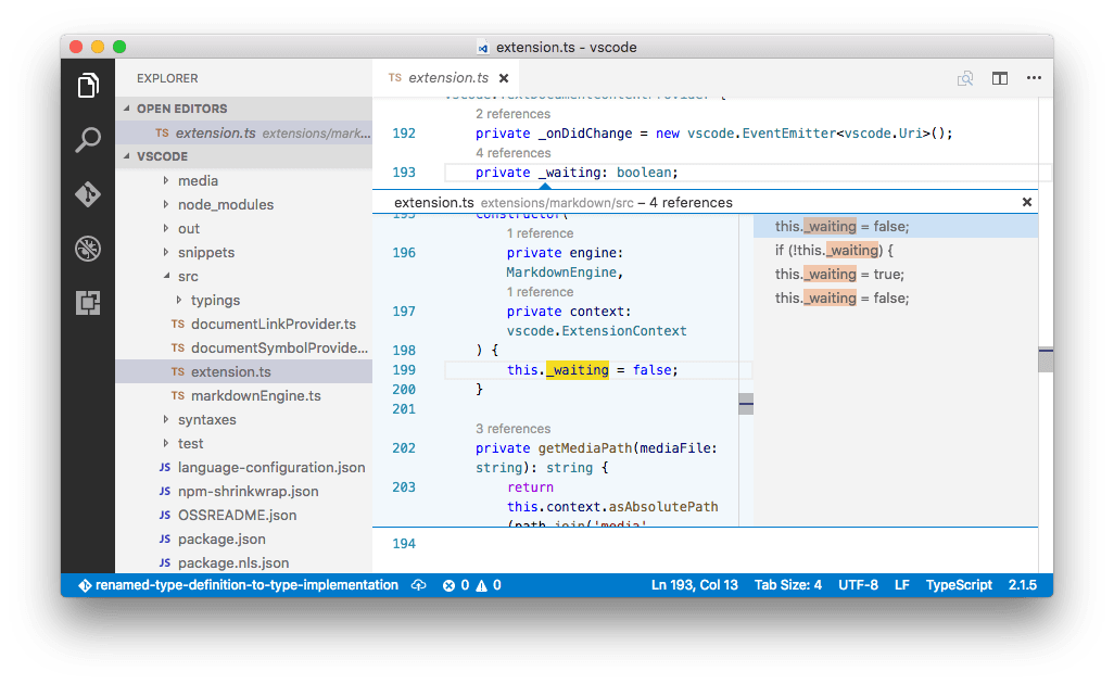 TypeScript references code lens peek
