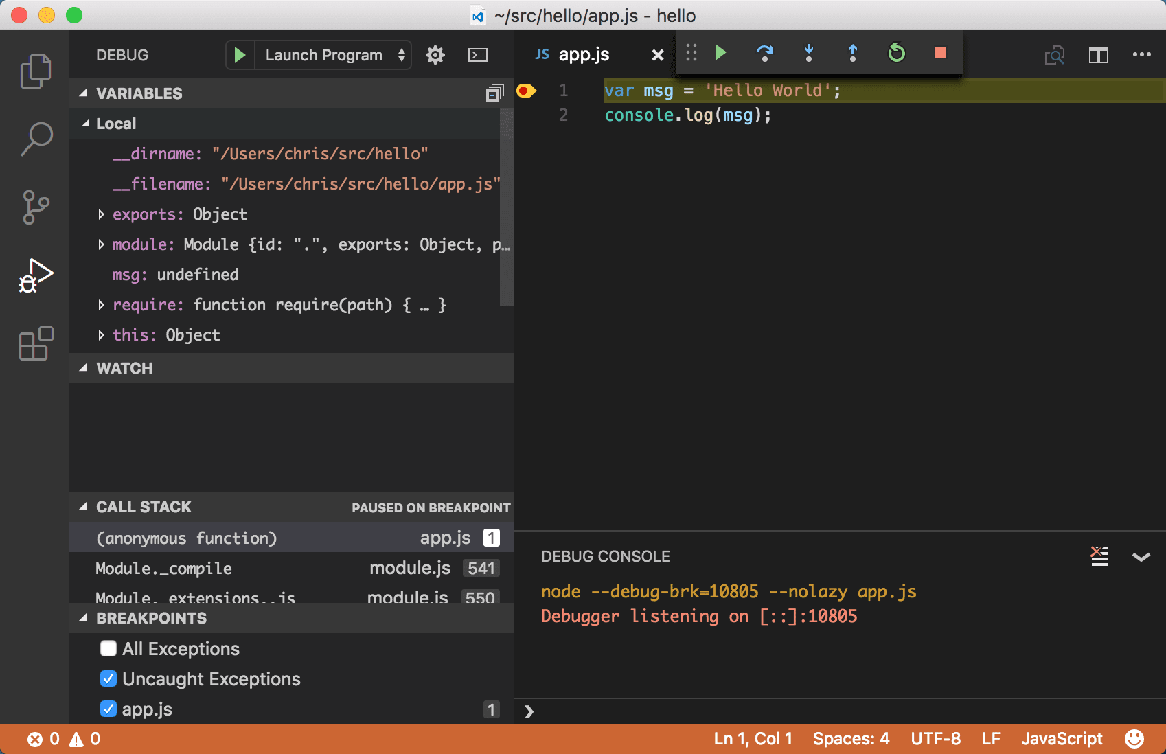 Build Node js Apps with Visual Studio Code