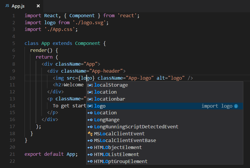 JSX IntelliSense