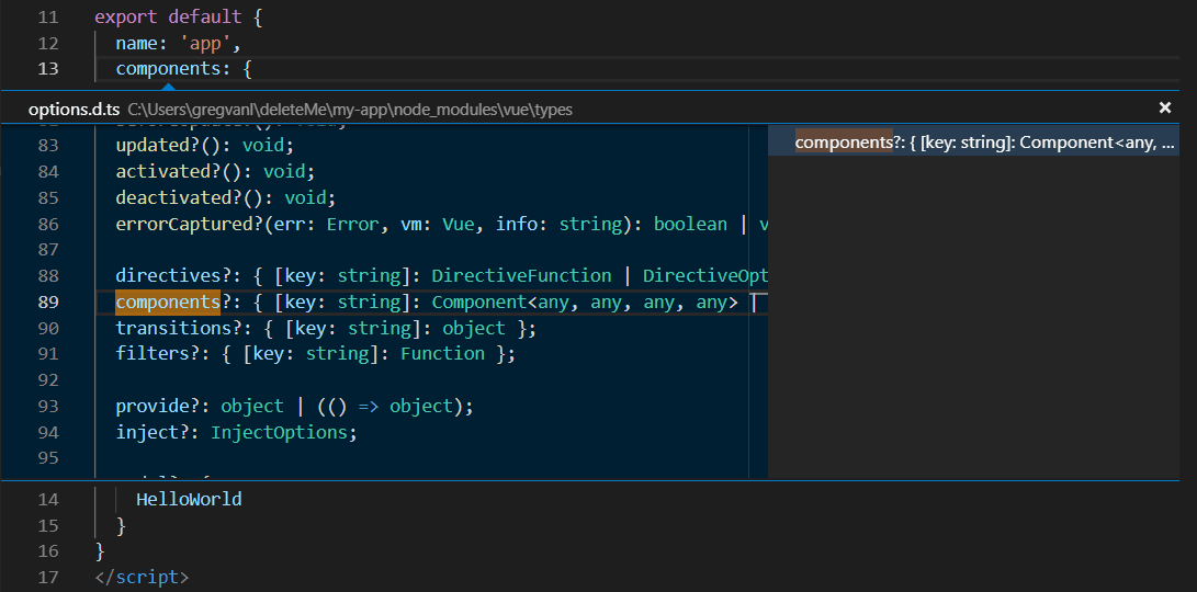 Visual studio code vue js example key