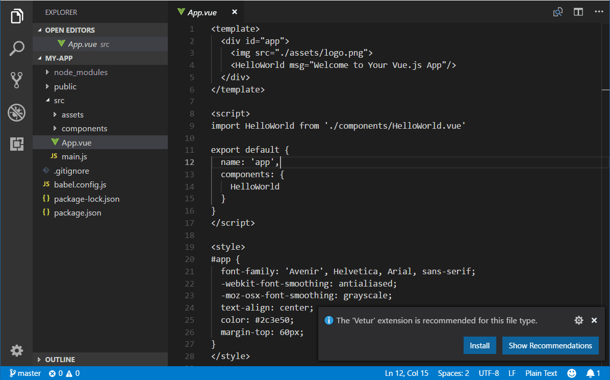 Vue JavaScript Tutorial in Visual Studio Code
