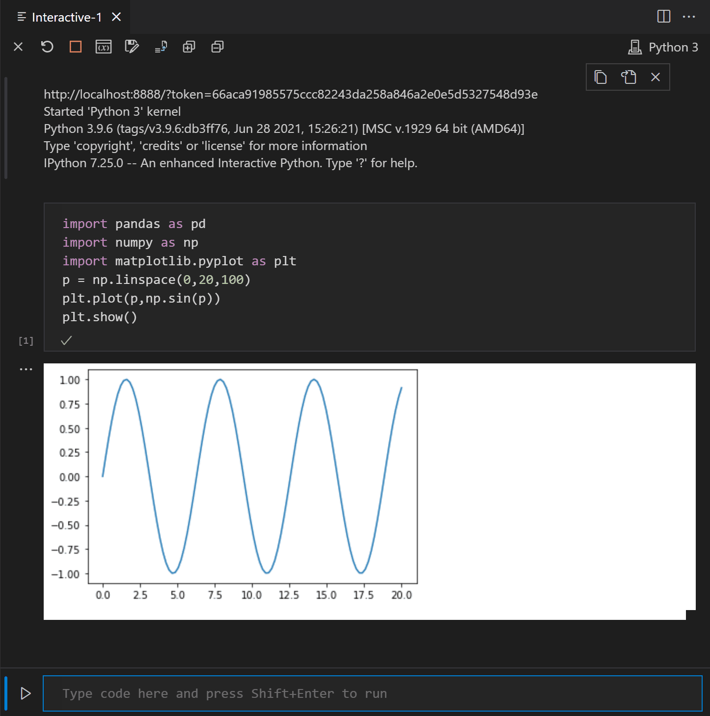 The Python Interactive window showing that code is running on a remote Jupyter server