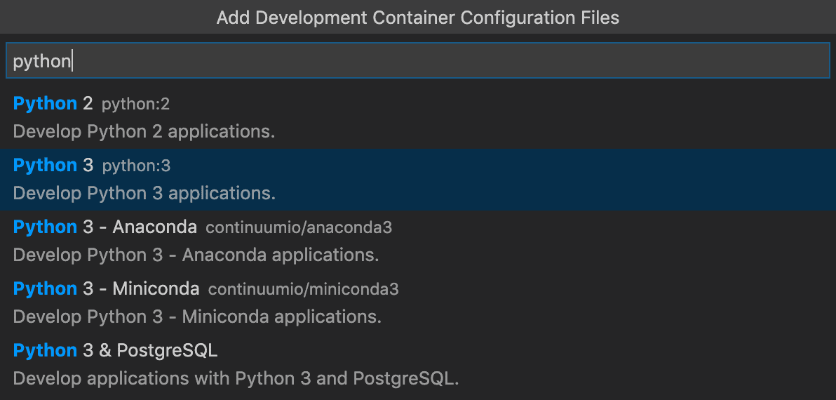 Select a python dev container definition