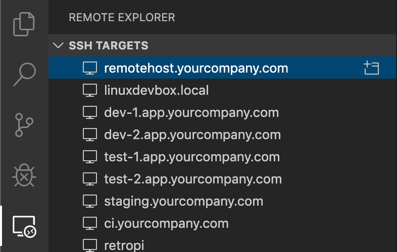SSH targets in the Remote Explorer