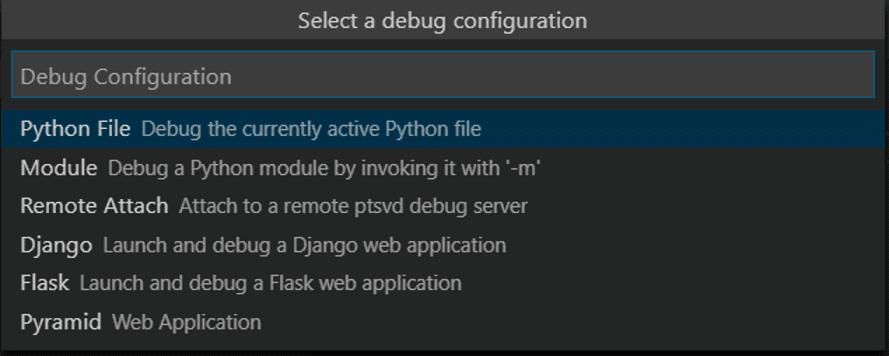 select debug configuration