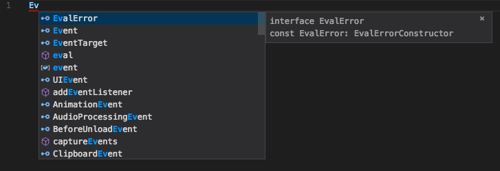 Improved VS Code 1.14 suggestions