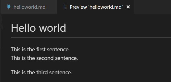 Markdown preview normally ignores single line breaks