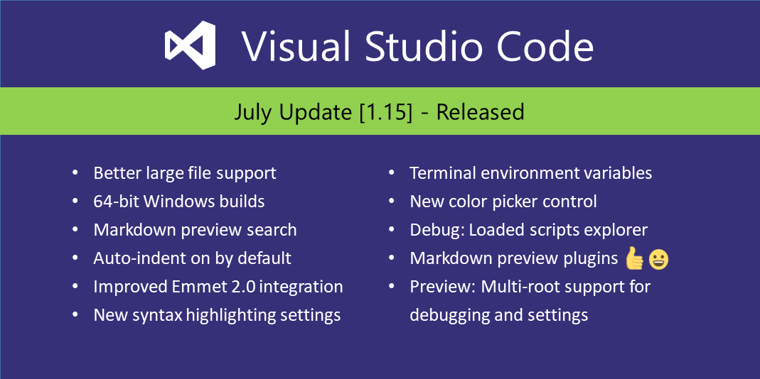Visual Studio Code July 2017