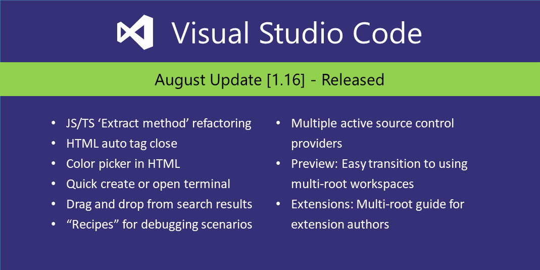 Visual Studio Code August 2017