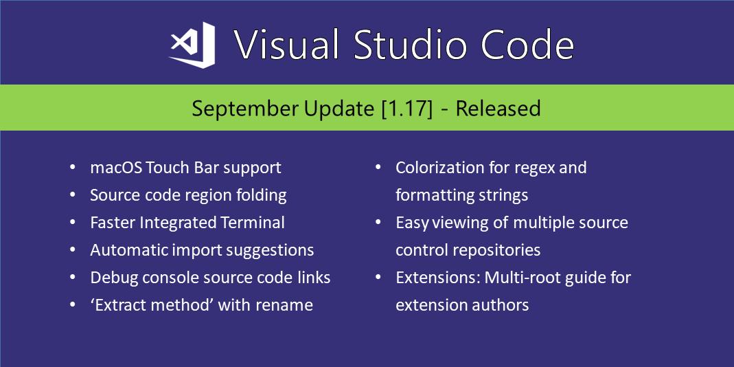 Visual Studio Code September 2017