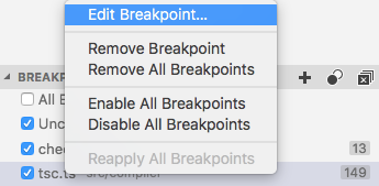 Edit breakpoint command