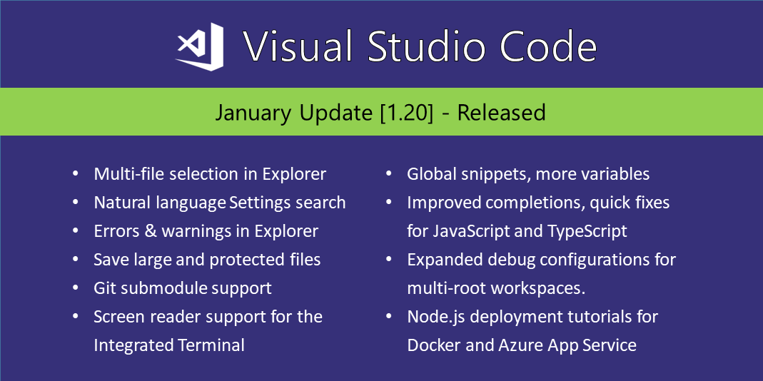 Visual Studio Code January 2018